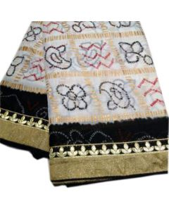 Fabric Georgette Chunri Gharchola Saree With Black Border