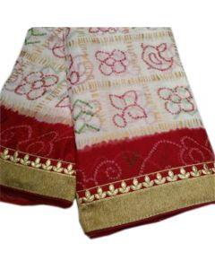 Fabric Georgette chunri gharchola Saree With Maroon Border