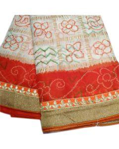 Fabric Georgette chunri gharchola Saree With Reddish Orange Border