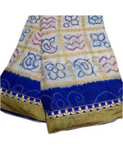 Fabric Georgette Chunri Gharchola Sari With Dark Blue Border