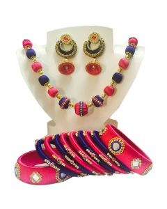 Navy Blue with Pink Silk Thread Necklace Set