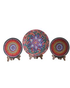 Ceramic Wall Plate With Combination Of Floral And Mandala Art