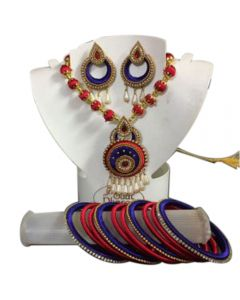 Maroon With Blue Silk Thread Necklace Set