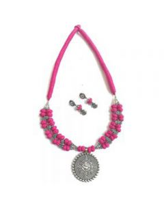 Silk Thread Jewellery With Pink and Silver Beaded Pendant