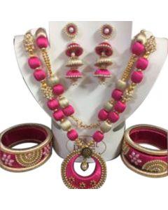 Pink With Golden Cream Silk Thread Necklace Set