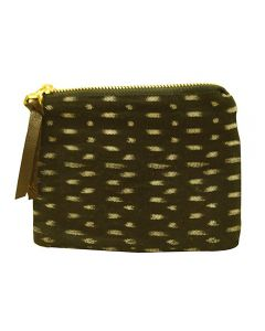 Eco-Friendly Handmade Women's Ikat Printed Black Color Coin Pouch With Zip