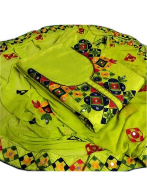Lime Green Colour Top Chanderi Silk Ariwork With Inner