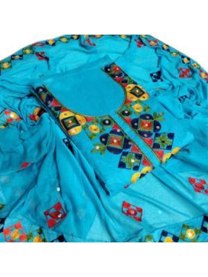 Blue Embroidered Top Chanderi Silk Ariwork With Inner