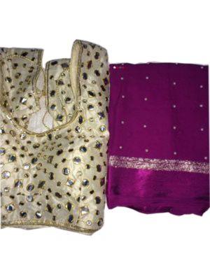 Magenta Fabric Pure Georgette Satin Patti Pearl Work Saree with Blouse