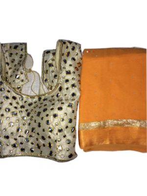 Fabric Pure Georgette Satin Patti Pearl Work Saree with