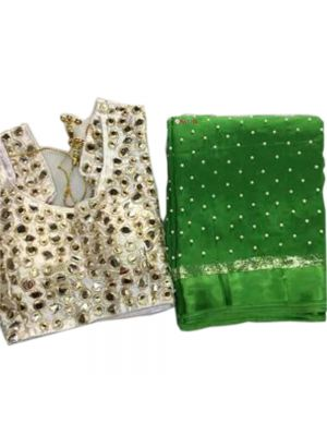 Green Fabric Pure Georgette Satin Patti Pearl Work Saree with Blouse