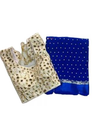 Navy Blue Fabric Pure Georgette Satin Patti Pearl Work Saree with Blouse