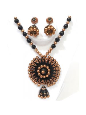 Black Color Terracotta Necklace Set With Jhumka