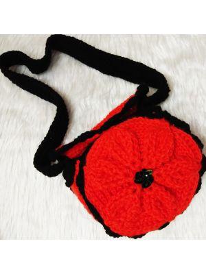 Crochet Embossed Flower Sling Bag