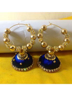 Silk Thread Navy Blue Jhumka Earrings