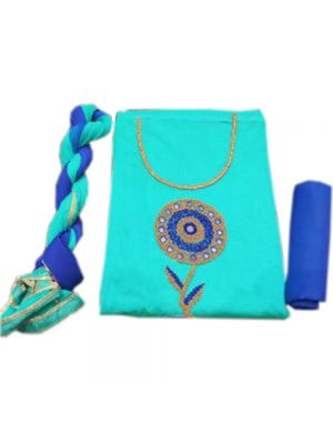 Chanderi Silk Suit Material with handwork On Sky Blue And Dark Blue