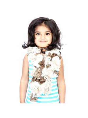 Frilled Scarf With Cream & Brown Color