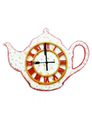 Teapot Kitchen Wall Clock with Fork and Knife hands