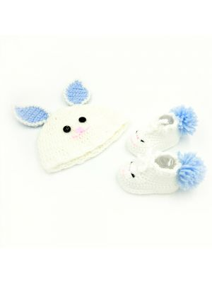 Cap and Booties Set (Blue and White Color Combination) For New Born Baby Girl