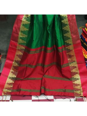 Red With Green Handloom Saree