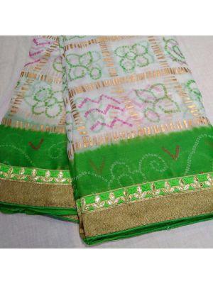 Fabric Georgette Chunri Gharchola Saree With Green Border