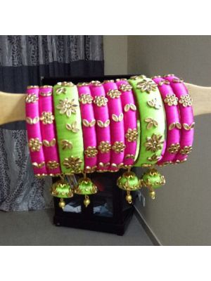 Silk Thread Bangle Pink and Green Color