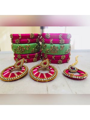 Silk Thread Pink And Green Color Bangle Set with Jhumka Earrings
