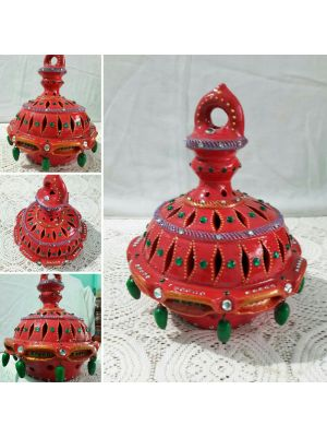 Terracotta Red Color Hanging Lantern Lamp