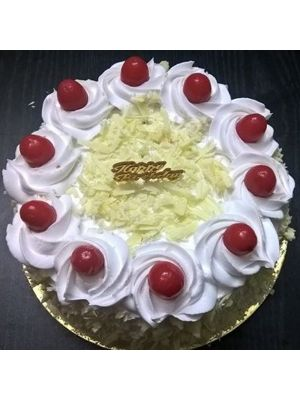 White Forest Pastry With Cherry Finishing