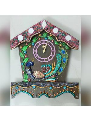 Hand Made Clock With Peacock Design