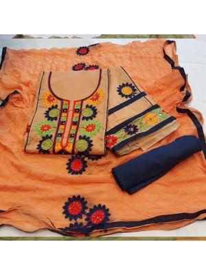 Orange Colour Chanderi Embroidered, Salwar Suit Material