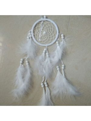White Silk Thread and feathers dream Catcher