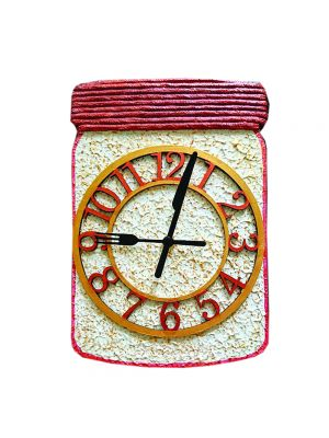 White and Golden Jar shape Clock