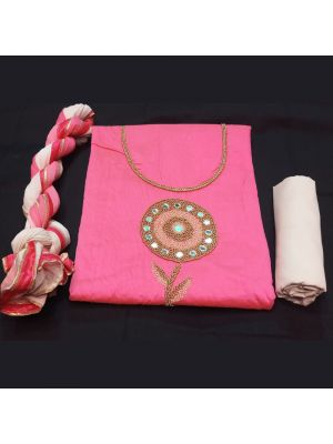 Chanderi Silk Unstitched Suit Material with handwork on Pink.