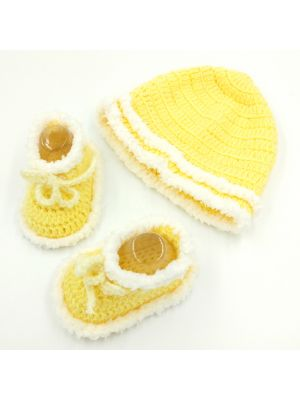 Cap and Booties Set (Yellow) New Born Baby Boy