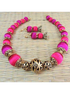Silk thread choker purple pink combo