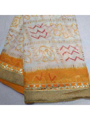 Fabric Georgette chunri gharchola Saree With Orange Border