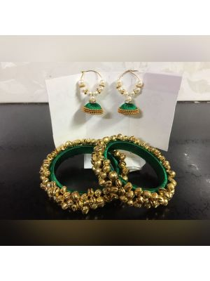Silk Thread Green Color Bangle Set with Jhumka Earrings