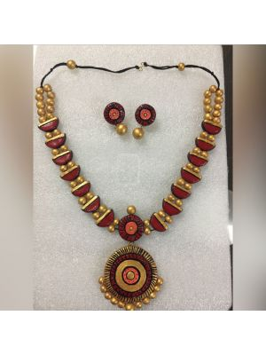 Golden With Maroon Necklace set