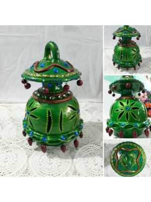 Terracotta Hanging Green Color Lantern Lamp