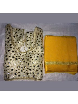 Mustard Yellow Fabric Pure Georgette Satin Patti Pearl Work Saree with Blouse