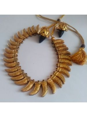 Gold Color Terracotta Jewellery Set