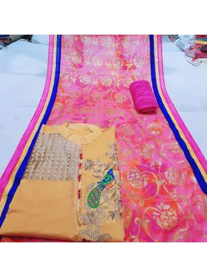 Orange and Pink Colour Chanderi Silk Churidar Dress Material Embroidery With Stone Work
