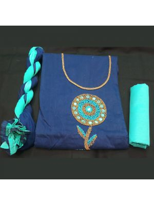 Chanderi Silk Suit Material with handwork On Navy Blue