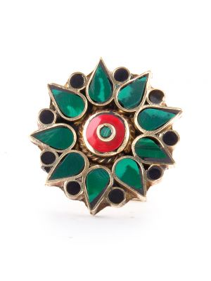 Avni Creation Sea Blue & Red Boho Ring