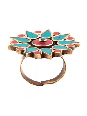 Avni Creation Sea Blue And Red Boho Ring.