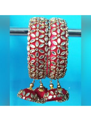 Red Silk Thread Bangle Set for Women