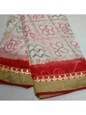 Fabric Georgette chunri gharchola Saree With Red Border