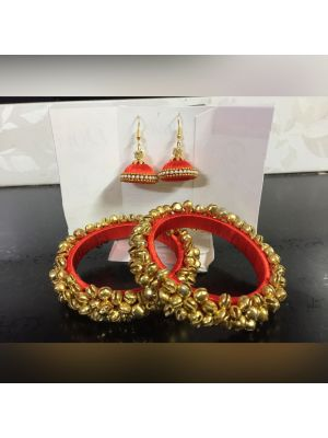Silk Thread Orange Color Bangle Set with Jhumka Earrings