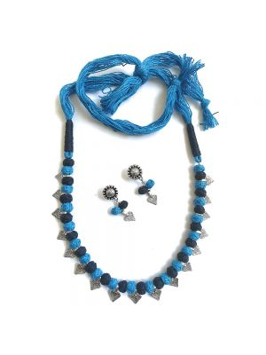Blue and silver beaded Necklace with matching Earrings